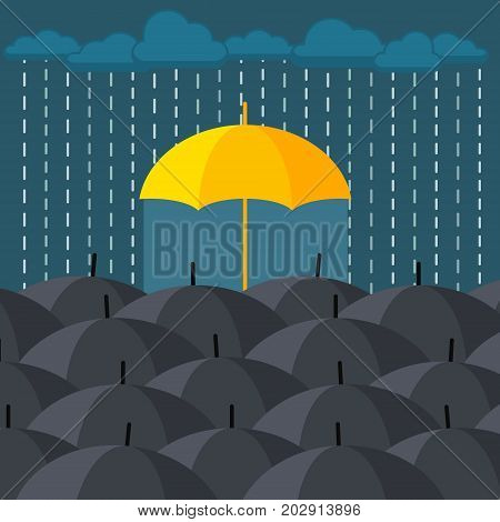 Concept of individuality and difference. Yellow umbrella among many dark ones. Standing out from crowd. Flat design, vector illustration.