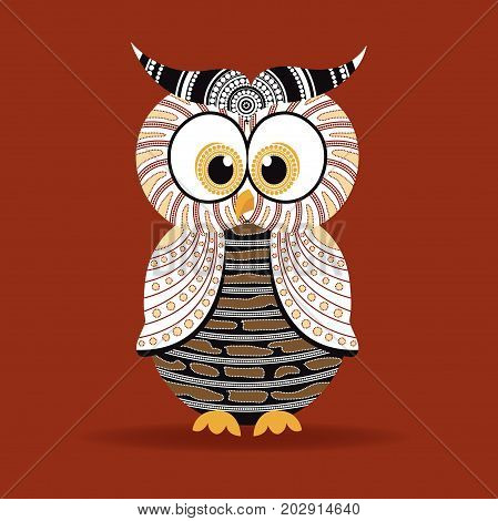 Aboriginal Owl Vector. Illustration based on aboriginal style of dot owl.