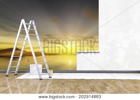 3d render of redecorate a room with a photo mural sunset