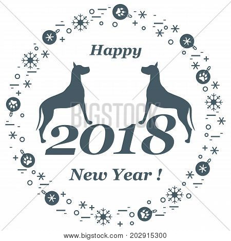 Cute Vector Illustration Of Two Dogs And Inscription Happy New Year Around The Balls With Footmarks