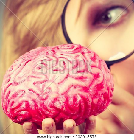 Blonde woman holding magnifying glass investigating something and looking closely at fake brain closeup