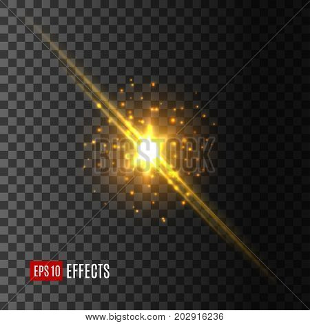 Light flash with glittering sparkles and lens flare effect. Vector isolated icon of shining sun rays or starlight beams on transparent background, twinkling star or solar gleaming glitter burst