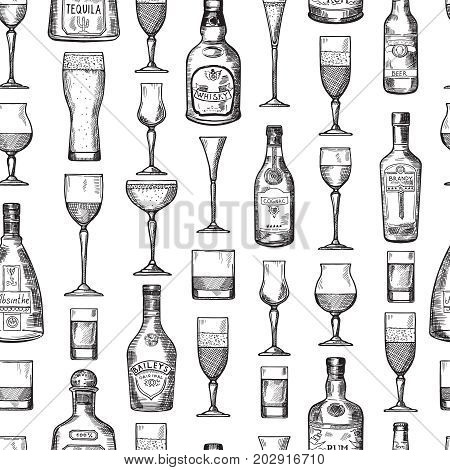 Seamless pattern with alcoholic drinking glasses. Vector illustration in hand drawn style. Alcoholic beverage sketch brandy and beer, whisky and tequila illustration