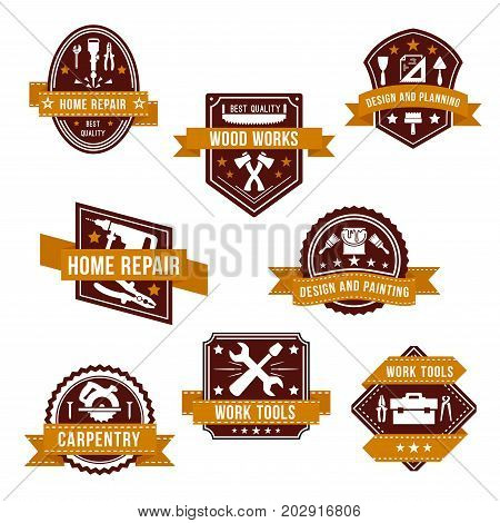 Home repair, design and planning icons. Vector set of work tools for woodwork, carpentry and house renovation or interior decor painting, woodwork grinder or hammer, plaster trowel and paint brush