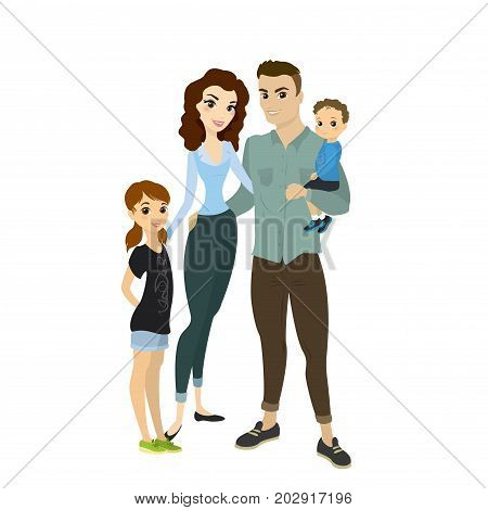 Cartoon Happy Young Family Of Four People