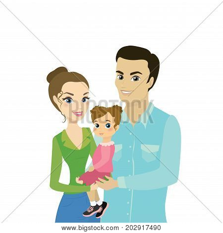 Beautiful Family Couple With Daughter