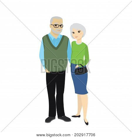 Happy Cute Old Man And Lady, Grandfather And  Granny