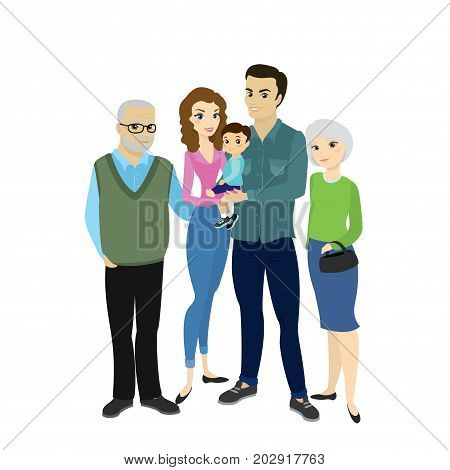 Beautiful Happy Family Couple With Son And Grandmother,grandfath
