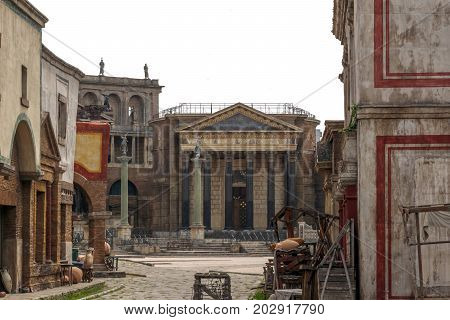 Rome Italy april 1st 2017: ancient city reproduced in fiberglass for films at the studio Cinecitta in Rome Italy
