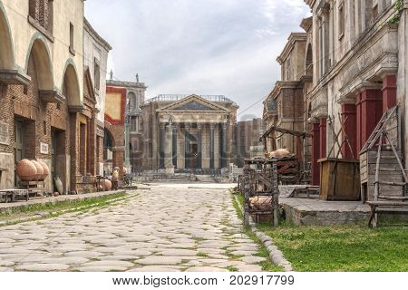Rome Italy april 1st 2017: ancient city reproduced in fiberglass for HBO