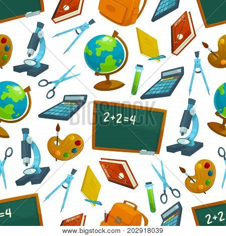 Back to School seamless pattern of blackboard and study supplies. Vector lessons book, chemistry or biology microscope, geometry ruler or compass and art paint brush, geography world globe or scissors