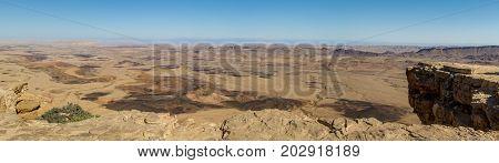 Desert landscape, panorama of the Makhtesh Ramon, nature reserve in Negev desert, Israel