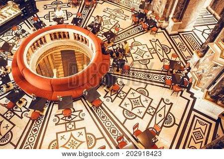 VIENNA, AUSTRIA - JUNE 10, 2016: Interior of huge cafe in classical style inside Kunsthistorisches Museum on June 10, 2016. Musem was opened in 1891. It's among 100 most visited museums worldwide