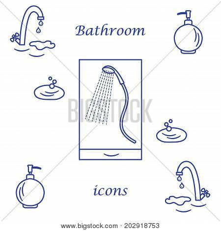 Set Of Vector Illustrations Of Variety Bathroom Elements: Faucet, Liquid Soap Dispenser, Shower.