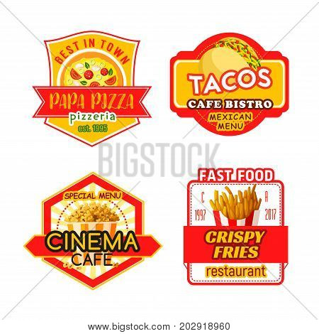 Fast food icons for pizzeria or cinema bistro cafe. Vector fastfood pizza, tacos snack or crispy french fries and popcorn bucket dessert for fast food restaurant menu template