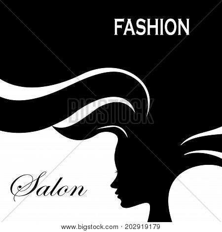 Silhouette Fashion Woman With Long Hair.