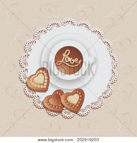 Chocolate hearts and hot chocolate on a napkin. Chocolate candies. Vector illustration. Beige background. Design with lace fabric, wrap, greeting, greeting, printing on fabric or paper.