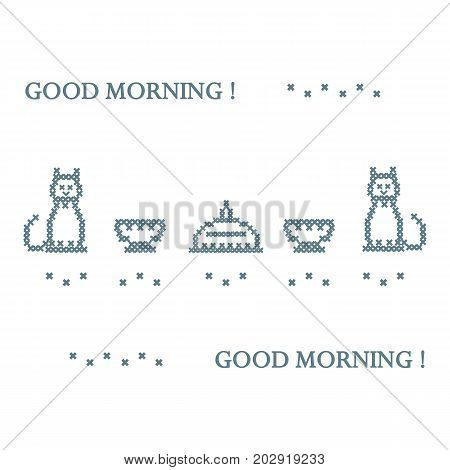 Cute Vector Illustration Cross Embroidery Of Dish With Lid, Two Cups And Two Cats.