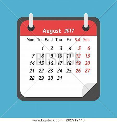Monthly Calendar, August 2017