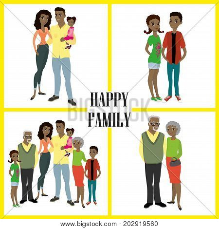 Happy African American family- parentstheir son and daughters and grandparents. Cartoon Vector illustration isolated on white background