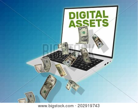 3D Illustration Of Laptop With Cash