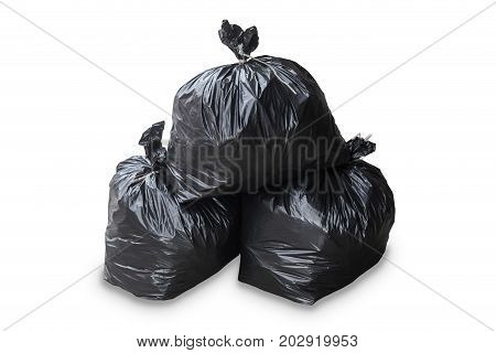 group of garbage bag isolated cut on white background