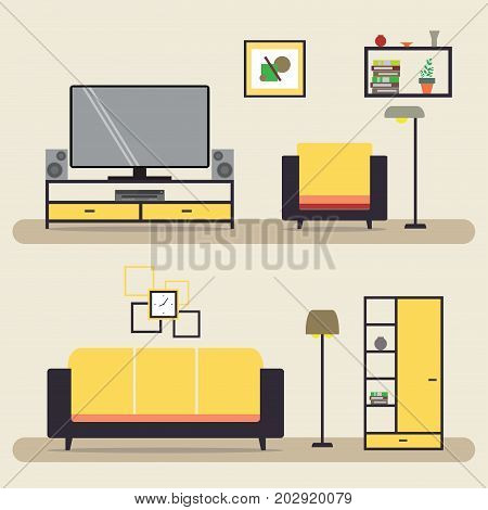 Living Room With Furniture.interior With Sofa,lamp And Tv.