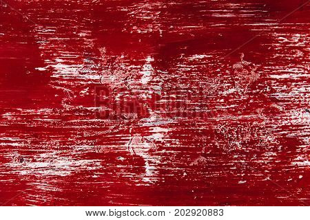 Old Wall With Dirty Paint Red Color Look Like Blood Grunge Rub Stain Texture Background