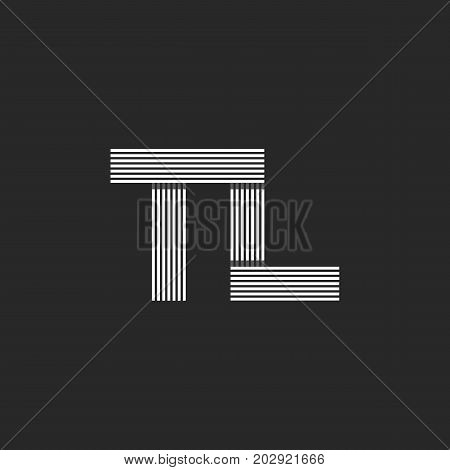 Monogram Letters Tl Logo, Combination Initials T And L Symbols, Black And White Thin Lines, Linear H