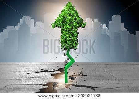 Green arrow pointing upwards - 3d rendering