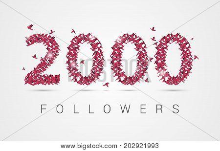 2000 (two thousand) followers. Origami birds. Vector illustration