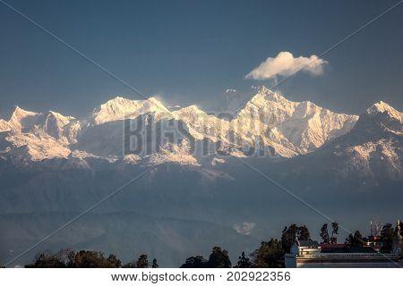 Morning View of Kachenjunga Peak from Darjeeling, India