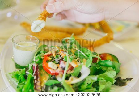 Vegetable Healthy Food Fish And Chips Salad With Dip