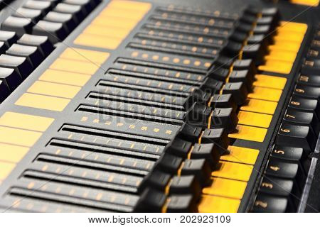 Mixing console. Sound mixer. Live and studio equipment