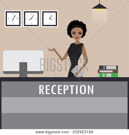 Young African American Woman Receptionist Stands At Reception De