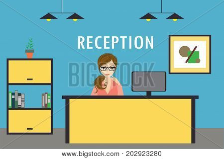 Young Woman Receptionist Stands At Reception Desk.