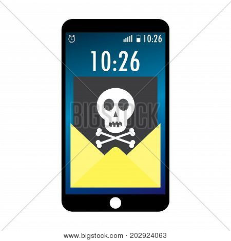 Cell phone and envelope with black document and skull icon. Virus malware email fraud e-mail spam phishing scam or hacker attack concept.Cartoon vector illustration