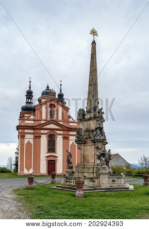 Church Of The Holy Trinity and Column of the Holy Trinity in Valec Czech republic