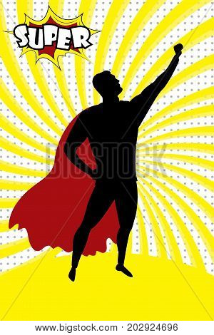 Super Hero Silhouette And Text Super In Retro Comic Pop Art Styl