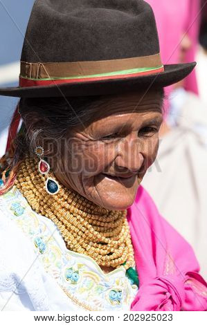 July 1, 2017 Cotacachi, Ecuador: on Punchi Warmi day the Kichwa indigenous women will dress up in traditional wear and dance in the main square of the town