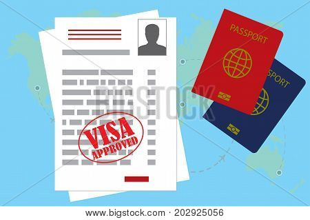 Visa Approved Blank Or Work Permit And Passport