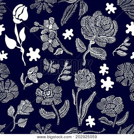 Floral seamless vector pattern with embroidery wildflowers. Stylized hand drawn elements. 1950s-1960s motifs. Retro textile design collection. Dark blue, white.