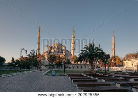 Istanbul Turkey. Sultan Ahmet Camii named Blue Mosque turkish islamic landmark with six minarets main attraction of the city.