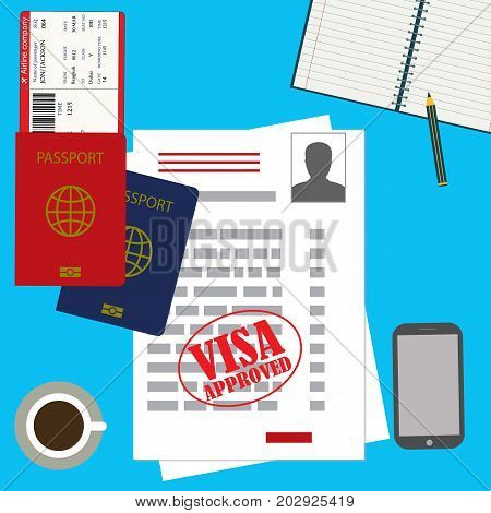 visa approved blank or work permit and passport with ticket. Flat design vector illustration.