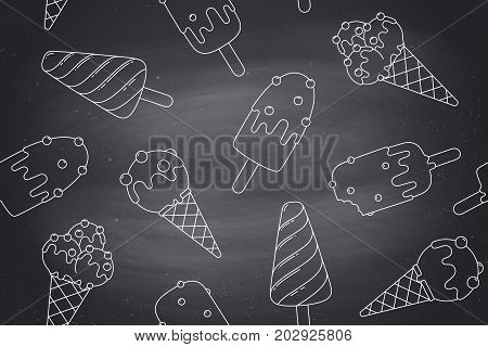 Seamless pattern with ice cream in line graphic. Concept graphic design ice cream and popsicle for ice cream shop, cafe and dessert menu on chalkboard background. Vector illustration
