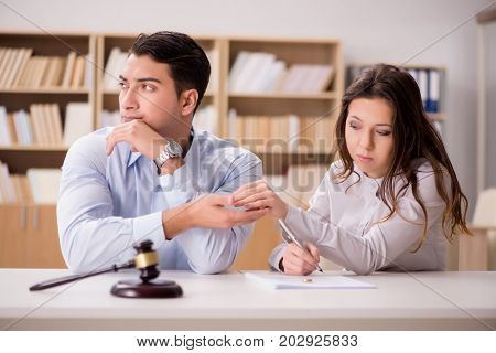 Young family in marriage divorce concept