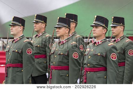BUDAPEST, HUNGARY - 20 AUGUST 2017: Festive speech by soldiers of the Hungarian army near the entrance to the parliament in honor of the day of Saint Istvan.