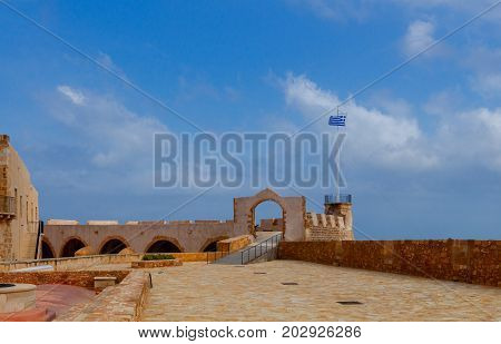 Old fort on the coast of Chania. Greece. Crete.