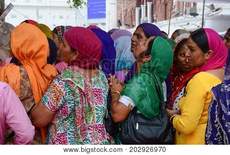 Indian Women Praying At Golden Temple