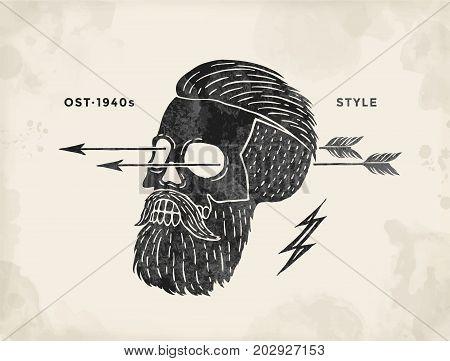 Poster of vintage skull hipster label. Retro old school set for t-shirt print. Vector Illustration